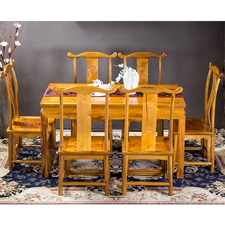 金絲楠 卷云餐桌七件套