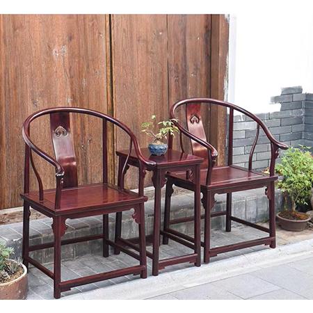 印度小葉紫檀 圈椅三件套