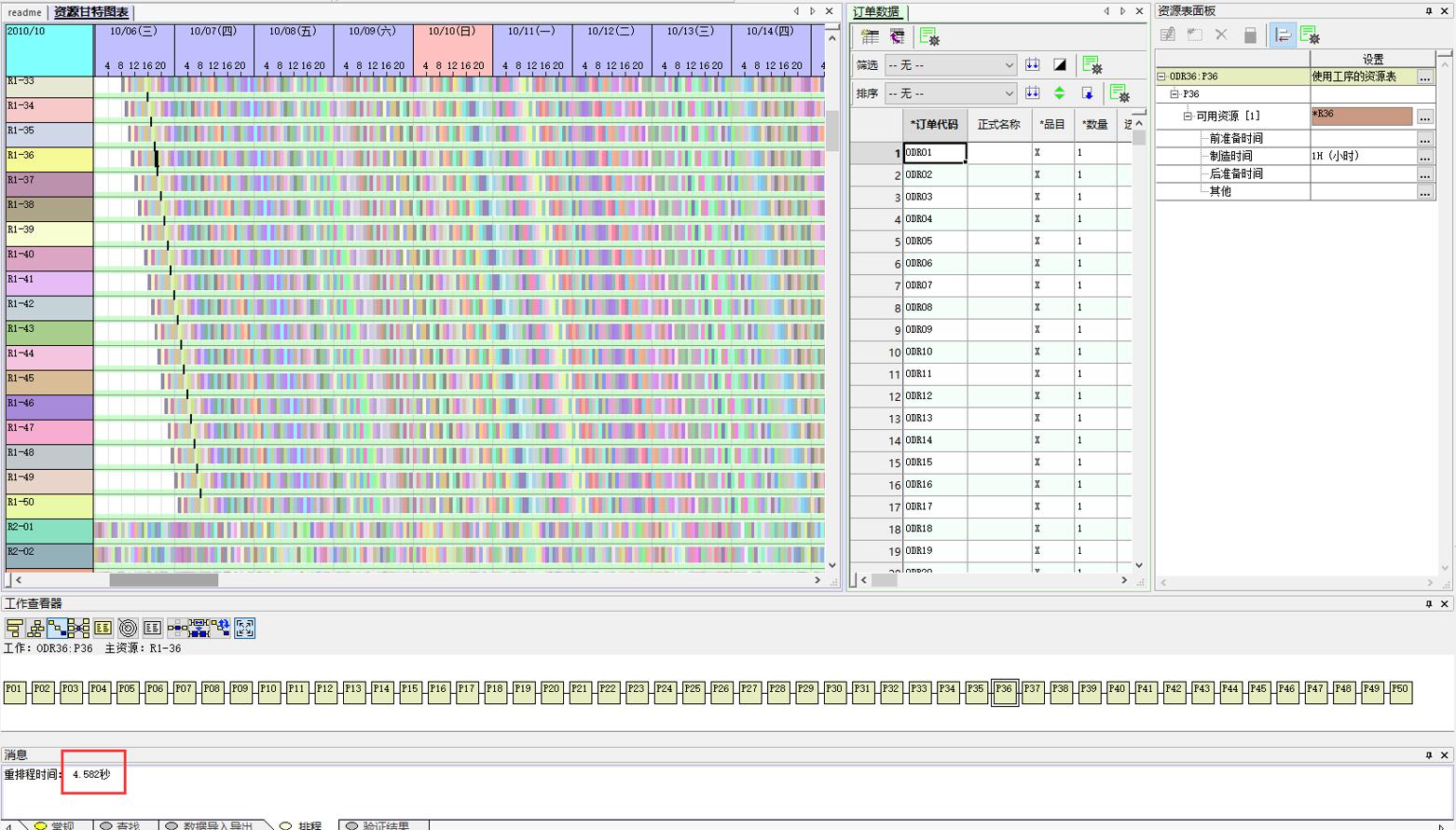 FLEXSCHE系统强大的排程计算效率,10万工作数(50道工序 * 2000笔订单 * 每工序5个可选资源),4-5秒计算完成!使用普通笔记本电脑的成绩!实际场景中客户数据更为复杂,机器+模具+人员+替代物料...指数级增长的要素组合,极为需要可快速完成排程计算的系统!
