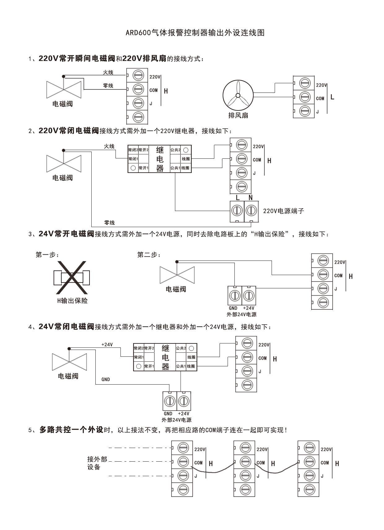 ARD600风机电磁阀接线方式