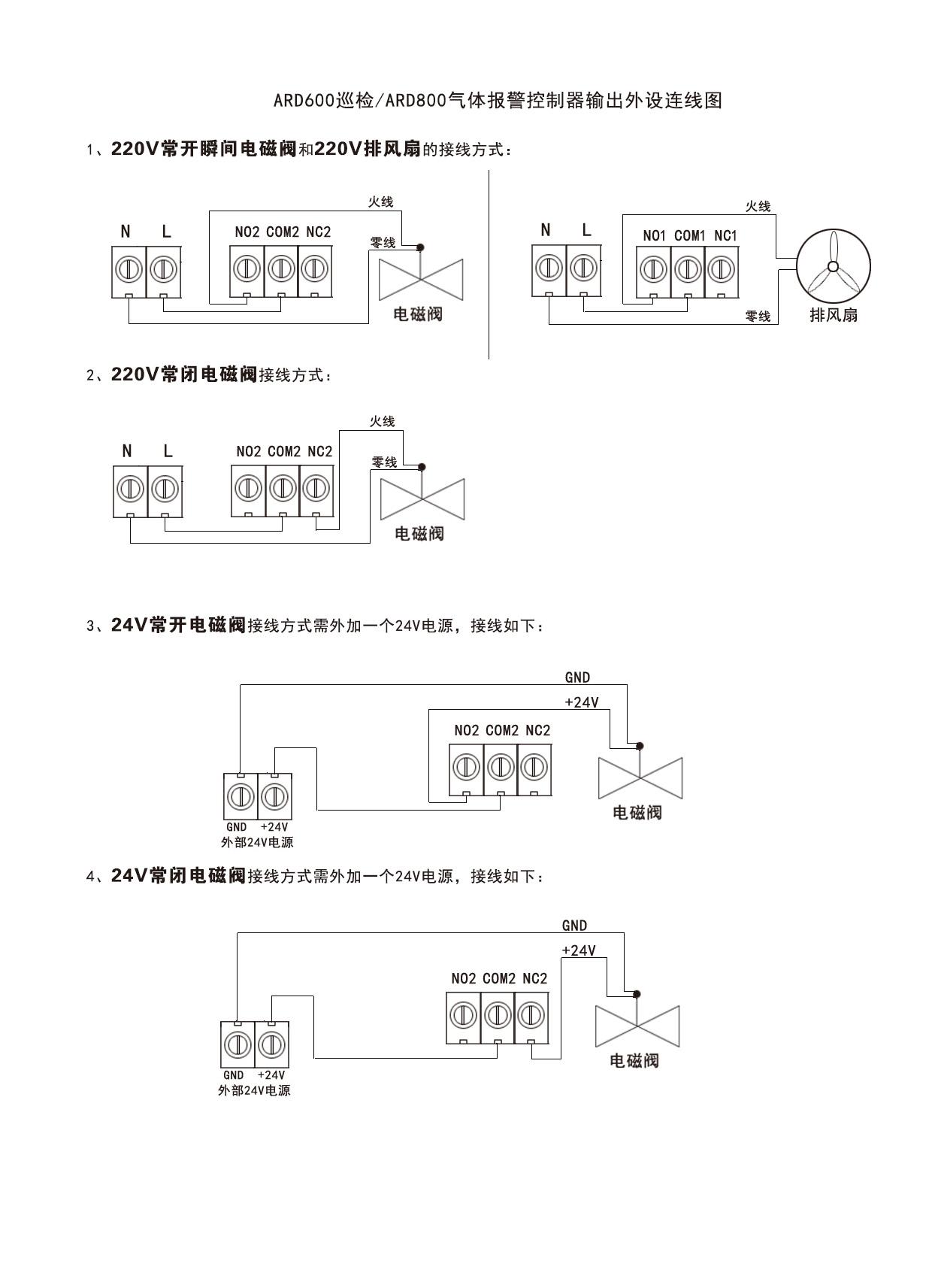 ARD800风机电磁阀接线方式