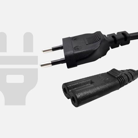 2.5A欧规VDE两扁直插带八字尾C7电源线